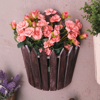 Pastoral Retro Wood Flower Basket Pot Pergola Fence Flower Plant Pot Garden Balcony Flower Pot Wall Decorative Hanging Flowerpot