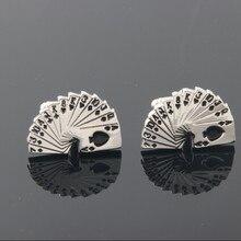 best quality playing cards game cufflinks poker cufflinks for mens silver cufflings wedding designer poker gifts