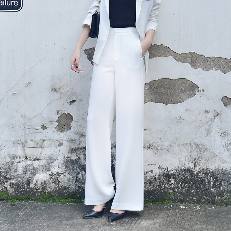 Long   Pants   Female High Waist Solid   Wide     Leg     Pants   For Women Casual Fashion 2019 Spring Office Lady Workwear   Pants