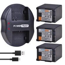 3Pcs 2900mAh BP 828 BP828 BP 820 Li Ion Battery + USB Caricabatteria per Canon LEGRIA GX10, HF G30, HF G40, XA11, XA15, XA20, XA25, XA30, XA35