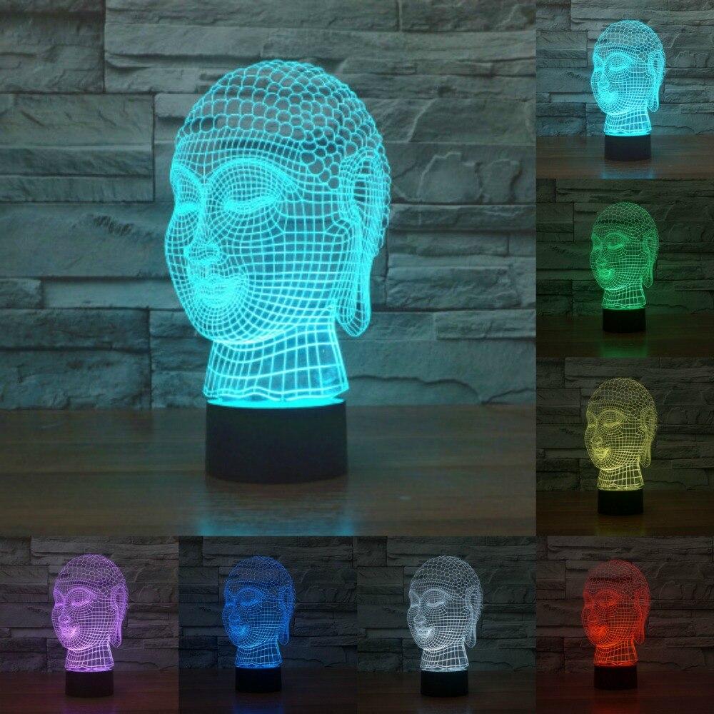Buddha Head Tathagata Acrylic light LED 3D lamp night light Touch sensor light USB light 7color change for kids as gift IY803469