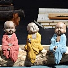 3 unids Decortion Casa Mascota Té El Pequeño Monje Buda Púrpura Boutique de arena de Cerámica Té No Estropear El Pequeño Monje Adornos