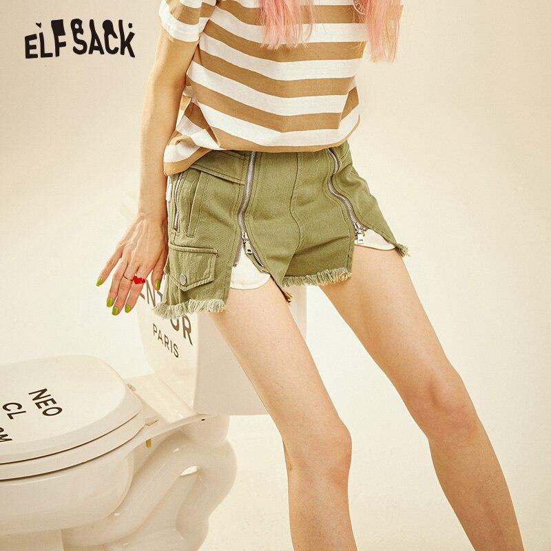 Женские джинсовые короткие шорты ELF SACK, потертые шорты цвета хаки, повседневные винтажные шорты с молниями, в уличном стиле, для ношения лето...
