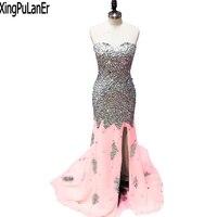 robe de soiree Sparkly Full Heavy Beaded Stones Crystals High Split Sweetheart Sleeveless High Quality Long Evening Dress 2017