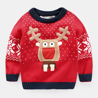The Boy Cartoon Elk Sweater 2017 In Spring And Autumn New Christmas Baby Red Turtleneck Sweater