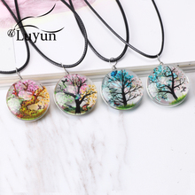 Luyun Tree Of Life Dried Flower Necklace Best Selling Crystal Glass Pendant Long Wholesale