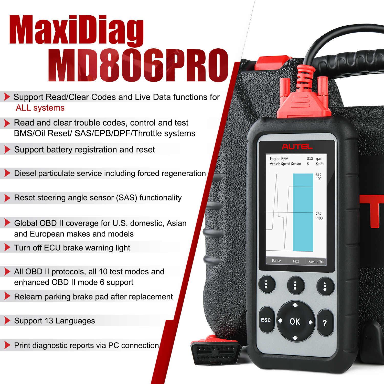 Autel Maxidiag MD806 Pro OBD2 Xe Quét Chuẩn Đoán Tự Động Ô Tô OBDII Mã Toàn Hệ Thống OBD2 MD806Pro Automotriz