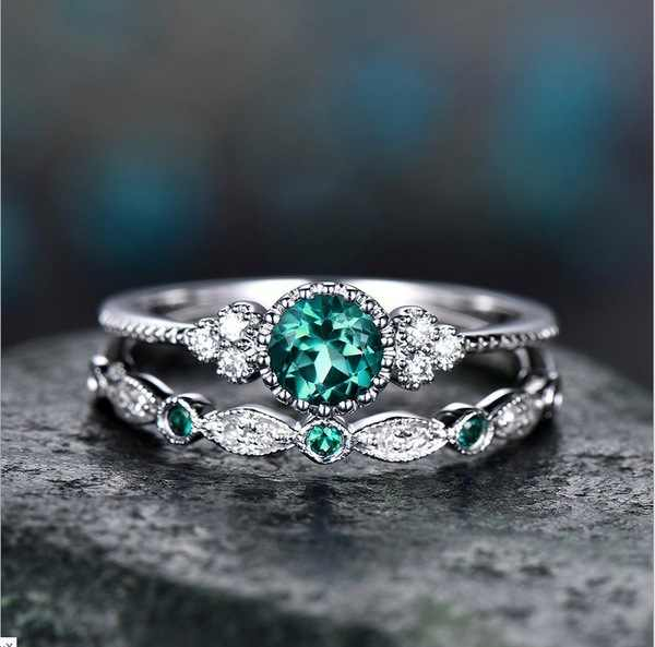 925 Sliver Emerald แหวน Zircon สำหรับผู้หญิงสีเขียวหยกอัญมณี Anillos De เครื่องประดับ Bizuteria Diamante Peridot แหวนอัญมณี
