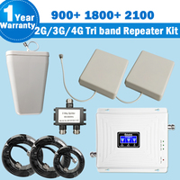 Lintratek NEW Tri Band Repeater 2G 3G 4G With 2 Antennas 900 1800 2100 MHz Mobile
