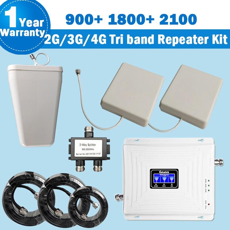 Lintratek NOUVEAU Tri Bande Répéteur 2g 3g 4g avec 2 Antennes 900 1800 2100 mhz Mobile Téléphone signal Booster Amplificateur Kit pour La Maison 36