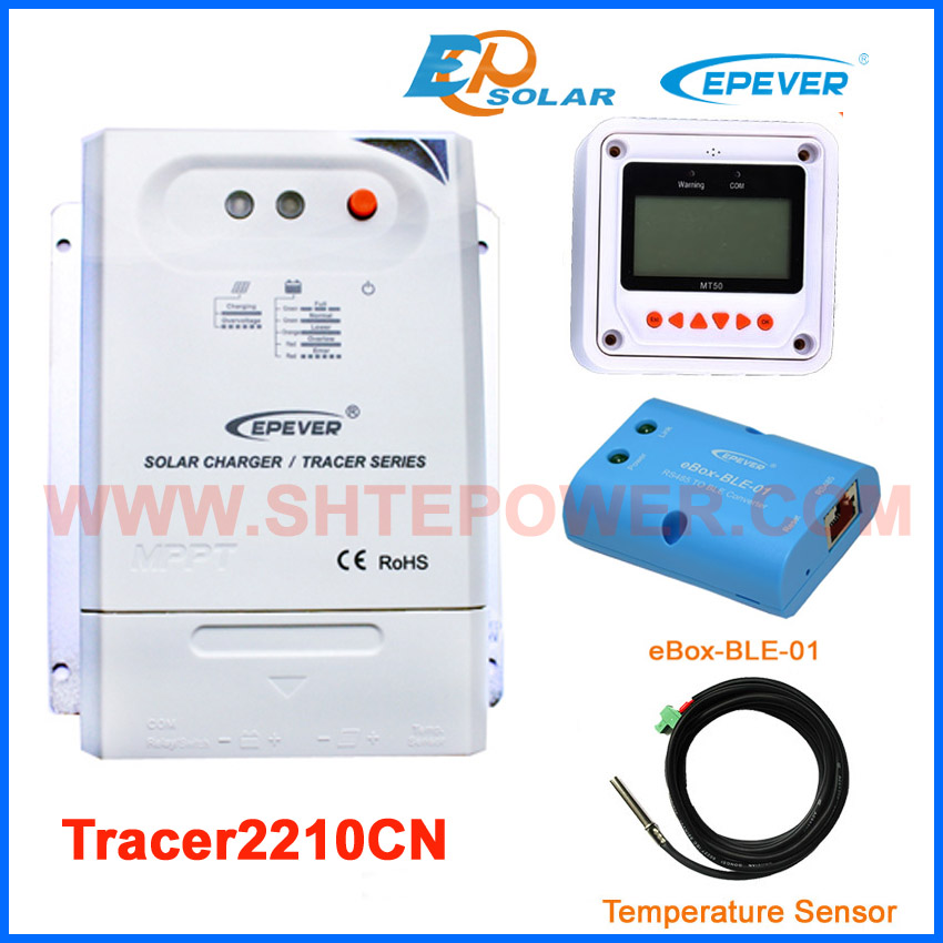 Tracer2210CN MPPT EPsolar/EPEVER high efficiency solar regulator 20A 20amp BLE BOX&MT50 meter temperature sensor mppt 20a solar regulator tracer2210a with mt50 remote meter and temperature sensor