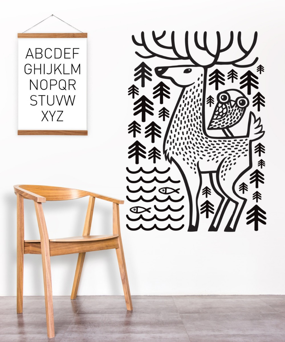 Merry Christmas Wall Stickers Home Decor Living Room Deer with Owl,Tree,Fish Vinyl Baby Wall Art <font><b>Decals</b></font> Removable Wallpaper D943