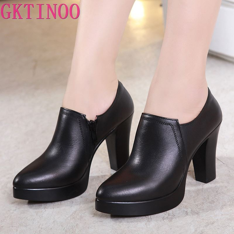 GKTINOO Deep Mouth Pointed Toe Leather Shoes Women Pumps 2019 Autumn Black High Heels Office Shoes Plus Size 33-43