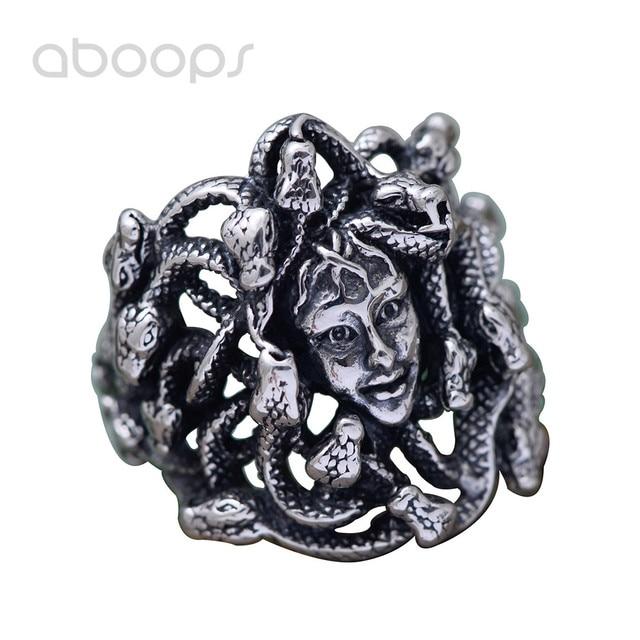 Vintage Gothic Black 925 Sterling Silver Greek Mythology Medusa Ring Jewelry for Men Boys Size 8.5 9 10 11 Free Shipping