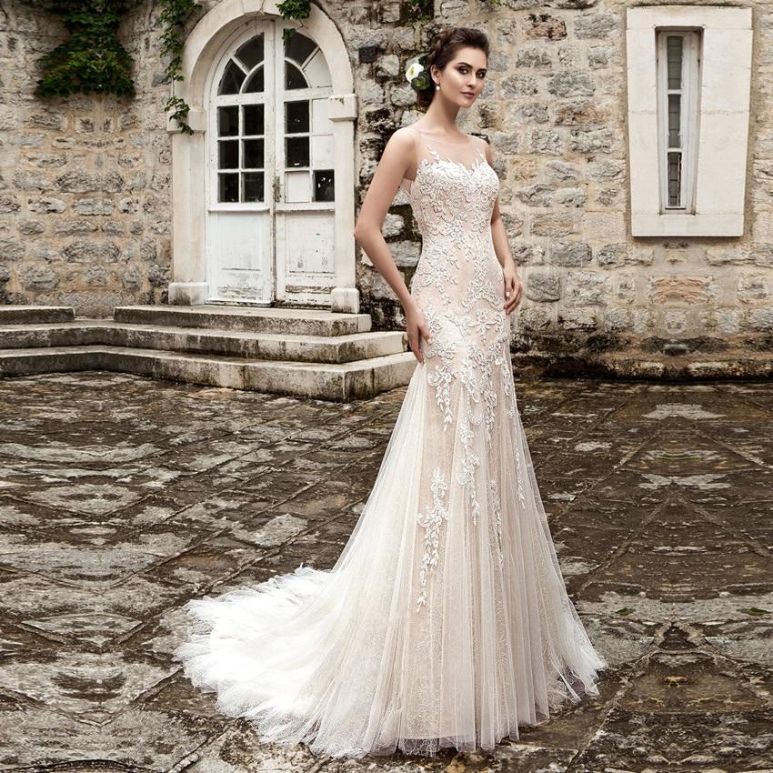 Vestido De Noiva 2017 New Elegant Lace Applique Tulle: Vestidos De Noiva Appliques Lace Mermaid Wedding Dresses