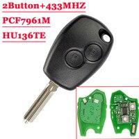 새로운 (1Pcs) 2 버튼 원격 자동 키 433mhz PCF7961M HITAG AES 칩 르노 HU136TE 로고 없음