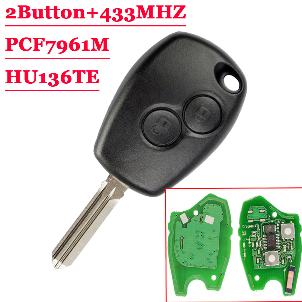 New(1Pcs) 2 Buttons Remote Auto Key 433mhz With PCF7961M HITAG AES Chip For Renault HU136TE NO LOGO