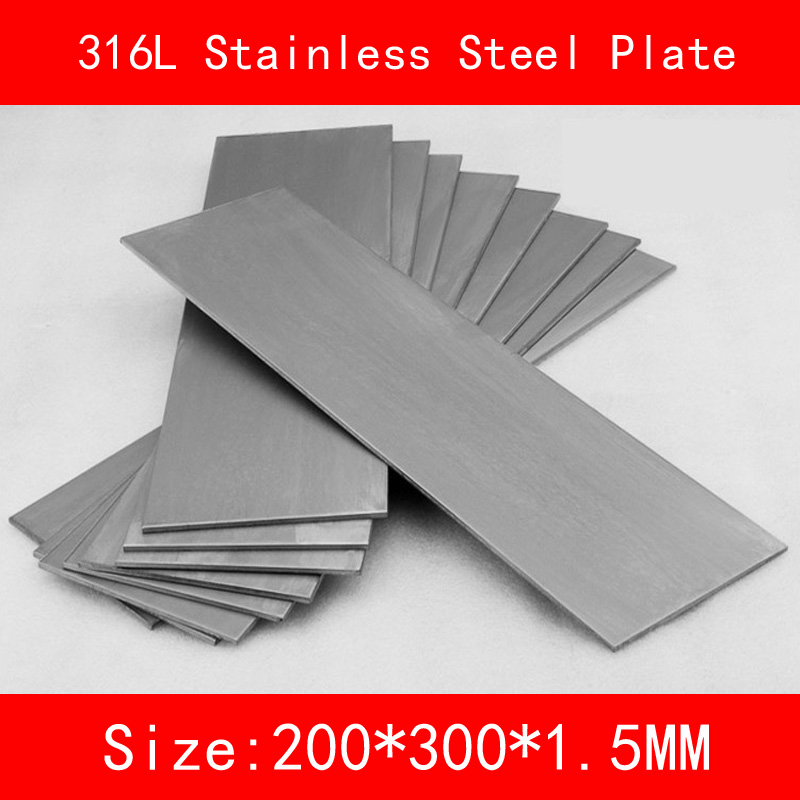 316L Stainless Steel plate size 1.5*200*300mm metal Sheet Brushed surface цена