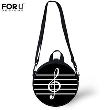 FORUDESIGNS Round Bag Women Crossbody Coin Purse Music Notes Printing Messenger Bags Girls Boys Circle Handbags Travel Tote 2019