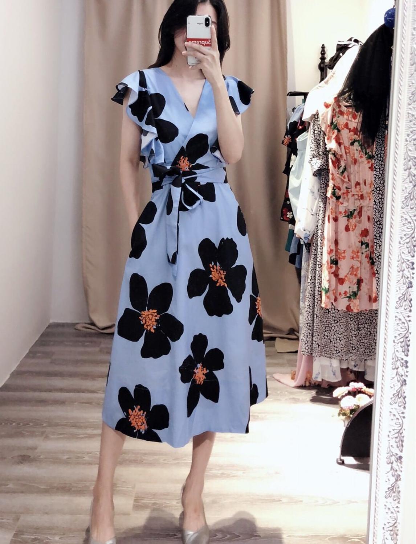 Femmes volants coton robe d'été avec poche latérale a-ligne ceintures midi grandes robes à imprimé floral 2019 nouveaux vêtements bleu