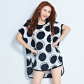 Korean style long loose irregular chiffon shirts maternity plus size high-low polka dot printed t-shirt pregnancy tops and tees