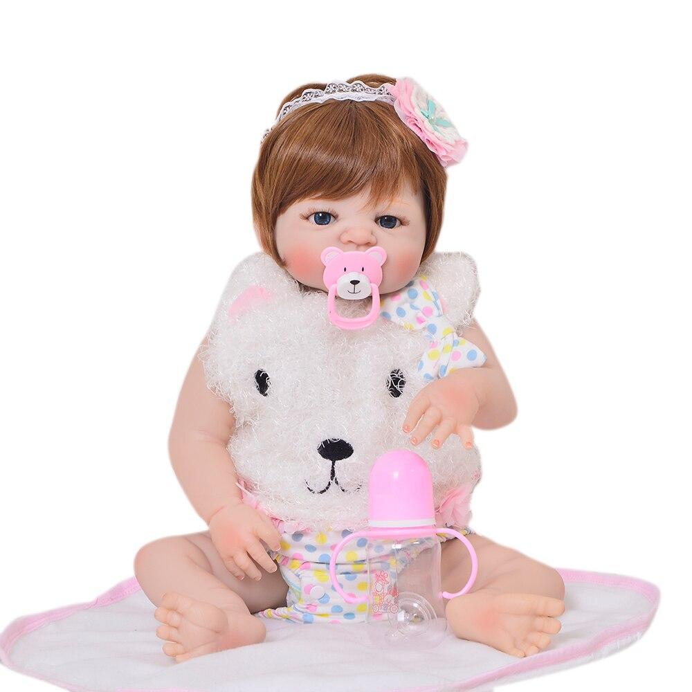 23 pouces Bebes Reborn fille poupée pleine Silicone vinyle reborn bébé poupées réaliste princesse bébé jouet poupée pour les cadeaux de la journée des enfants - 3