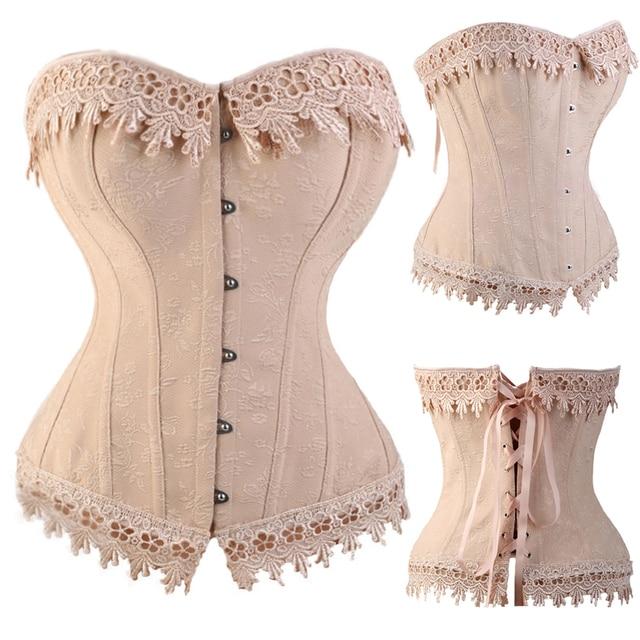 817a005a9ea HMF Sexy Lace Up Boned Burlesque Corset Tops Beige Lace Corset Busiter  Basque Lingerie Underwear Plus Size XXL 3XL 4XL 5XL 6XL