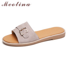 Meotina Summer Slides Women Shoes Metal Decoration Flat Casual Shoes Fashion Open Toe Slipers Ladies New Sandals Pink Size 5-9(China)