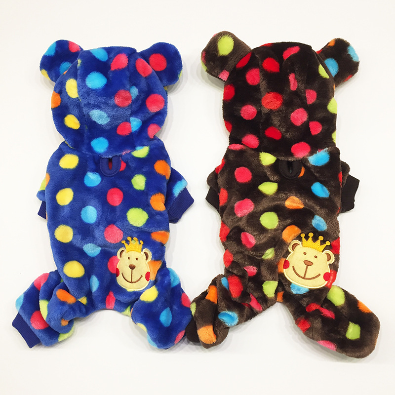Winter Dog Jumpsuit Bear Costume Halloween Small Cat Puppy Clothing Soft Pajamas Warm Poodle Coat