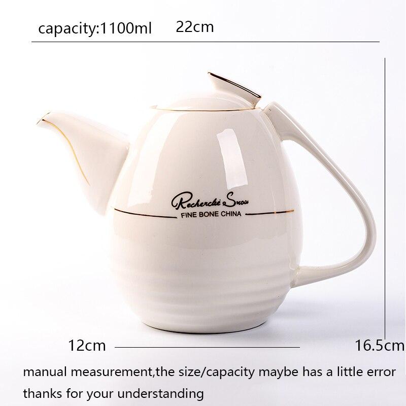 1100 мл Европейский стиль кофейник термостойкий керамический фарфор фильтр Чайная посуда/послеобеденный чай Молочный чайник - 2