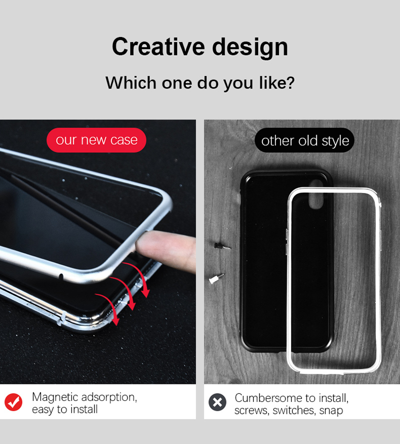 Magneto magnet metal bumper for iphone 7 8 X case luxury aluminum frame + 9H tempered glass cover for iphone 7 8 plus 7plus coque (2)