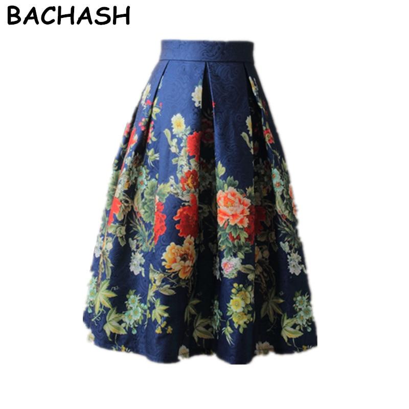 BACHASH Floral Print Ball Gown Pleated Midi Skirt Fashion 2018 Spring Summer Vintage Saias For Women Girl Casual Skater Skirt