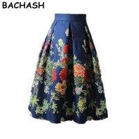 BACHASH Floral Imprimer robe de Bal Plissé Midi Jupe Mode 2017 Printemps Été Vintage Saias Pour Femmes Fille Casual Jupe Patineuse