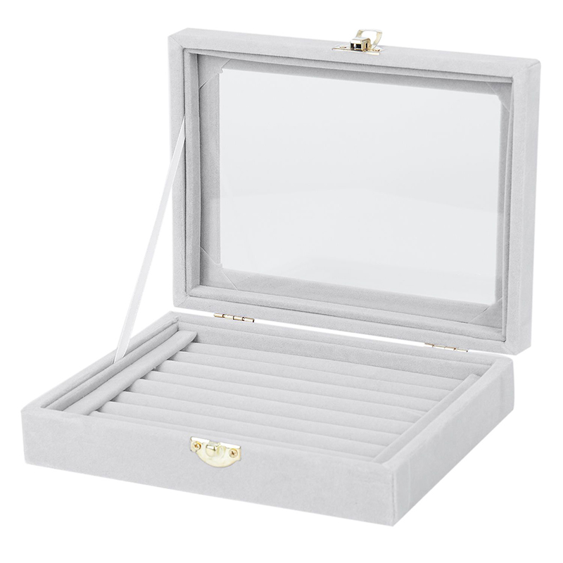 Velvet  With Glass Ring Earrings Necklace Bracelets Jewelry Display Organizer Box Tray Holder Storage Carrying Cases ToolsVelvet  With Glass Ring Earrings Necklace Bracelets Jewelry Display Organizer Box Tray Holder Storage Carrying Cases Tools
