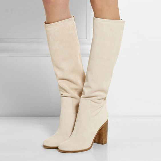 Hot Sale Beige Suede Thigh High Boots Fall Winter Block Heels Women Motorcycle Boots Celebrity Street Style Knee High Boots
