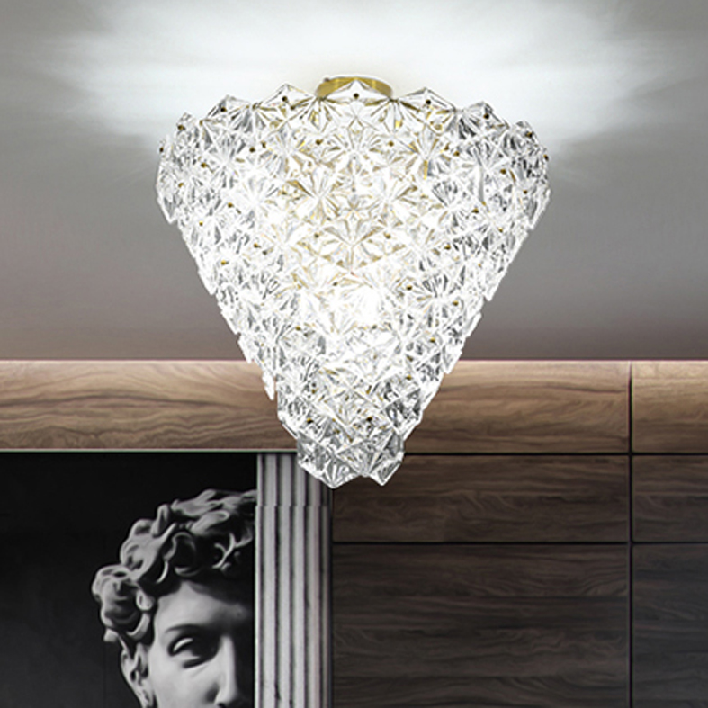 Modern Crystal Glass Ceiling Lights Fixture LED Light American Snow Flower Ceiling Lamps Bed Living Room Home Indoor Lighting - 2