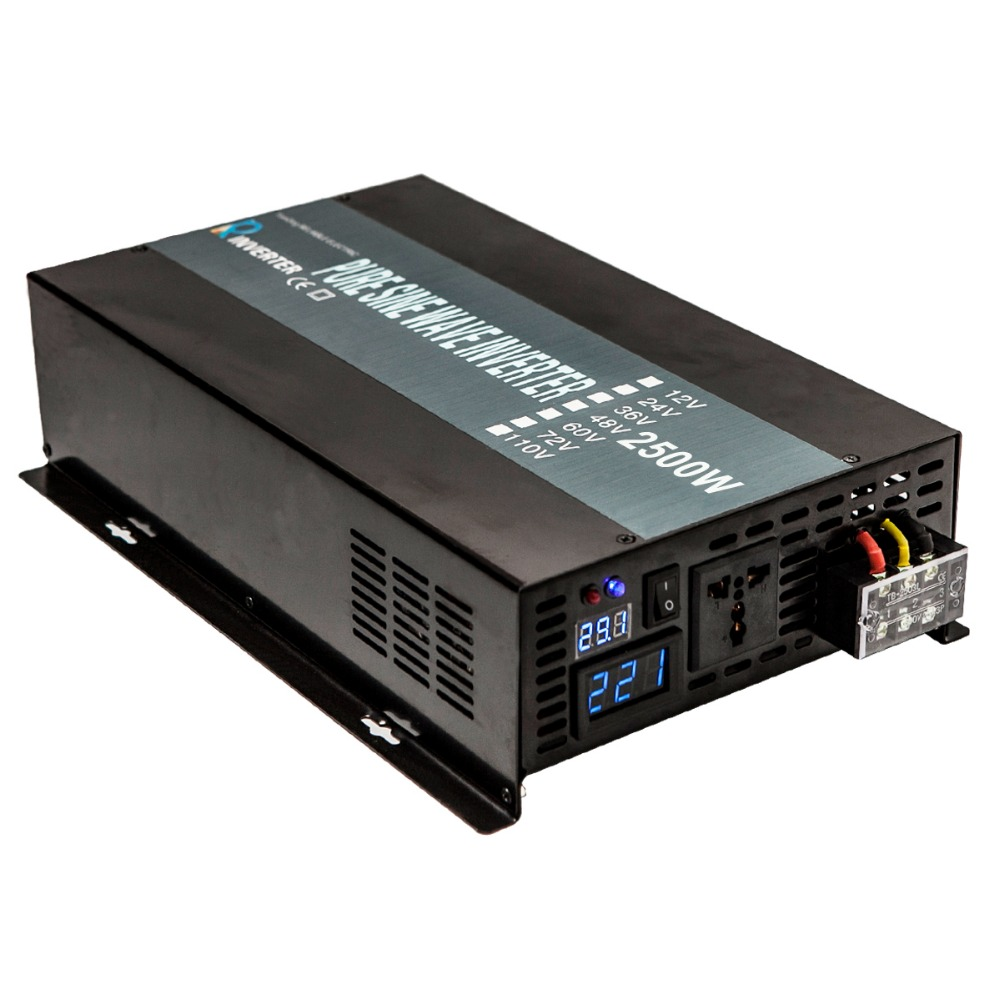 Pure Sine Wave Inverter 2500W Solar Power Inverter 24V to 220V Power Supply Transformer 12V/36V/48V DC to 110V/120V/230V/240V AC