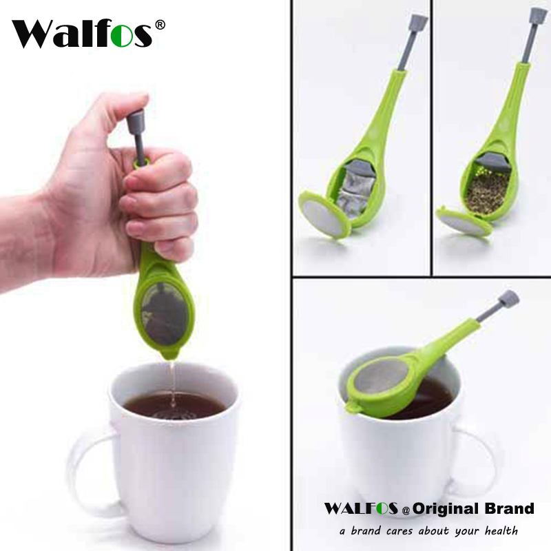 KITNEWER Healthy Food Flavor Total Tea Infuser Gadget Measure Swirl Stee Stir and Press البلاستيك الشاي والقهوة مصفاة