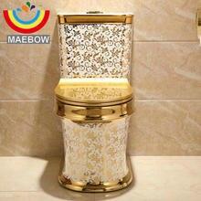 Художественный Золотой Цельный унитаз Cyclone Fluishing S-Trap напольный роскошный вилла ванная комната сиденье унитаз
