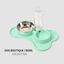 Pet Bowl Dog Cat Food with Water Bottle Double Puppy Feeder Cute