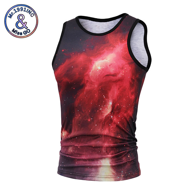 Mr.1991INC 3D print vests Mens bodybuilding waistcoat Vast starry sky printing tank tops Cool summer tops ...