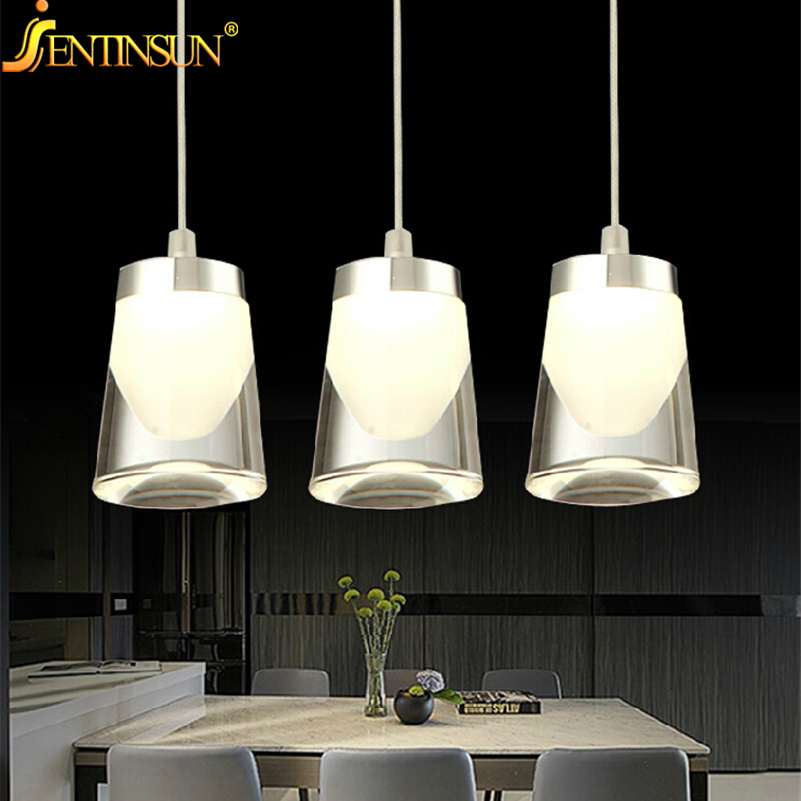 New 3Head 9W 90-265V Modern LED Crystal Pendant Light Restaurant abajur Gold Acrylic Hanging Lights Home Fixture Lighting