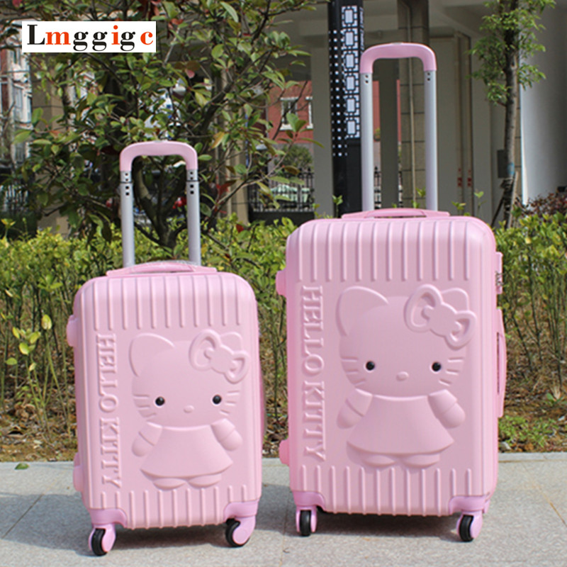 New Hello Kitty Luggage Carry-Ons,Children Women KT Suitcase,ABS Cartoon Travel Box,Universal Wheel Spinner Trolley Hardcase Bag lovely hello kitty luggage children trolley travel bag 18 inch cartoon kids suitcases hello kitty bag for girls