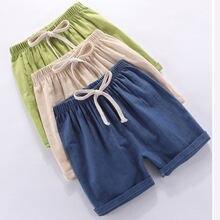 Menino crianças shorts crianças verão linho algodão calças curtas para meninos criança shorts roupas casuais 3-8 anos de roupas infantis