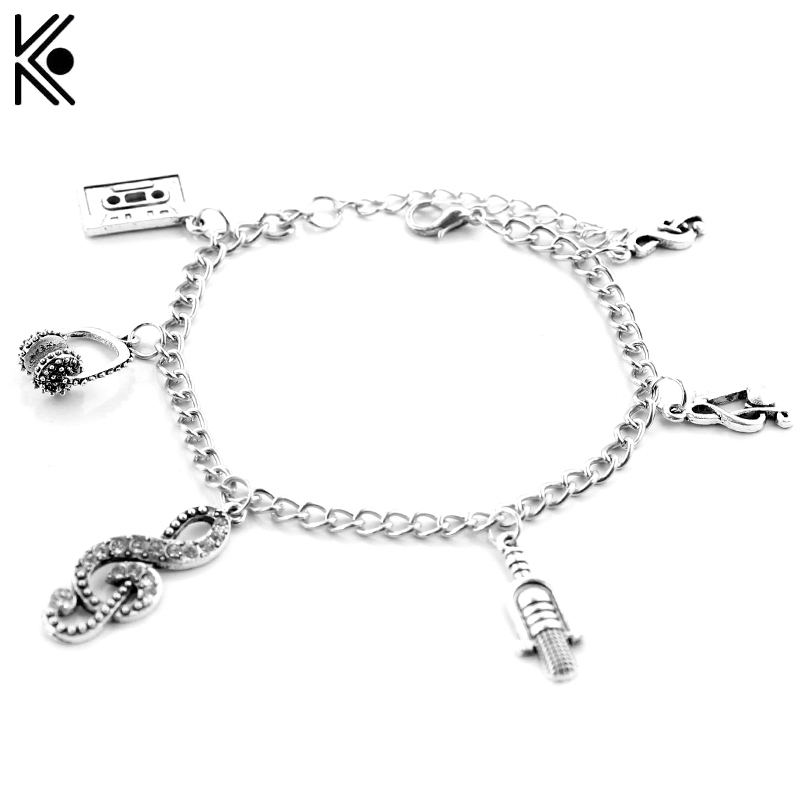 2 colors Silver Music Charm Bracelets & Bangles For Women men Bronze Plated Bracelets Jewelry with Microphone, headset pendants