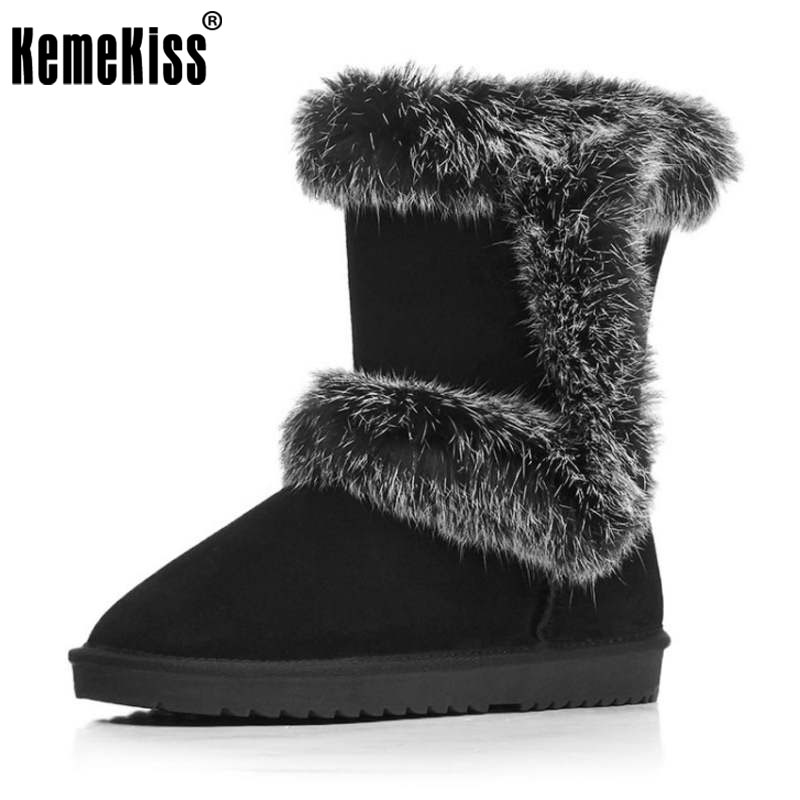 KemeKiss Women Snow Boots Female Real Leather Thick Fur Warm Booties For Women Flat Mid Calf Slip On Winter Botas Size 34-40