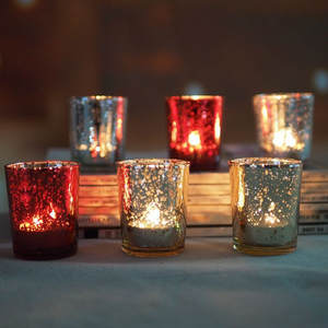Candle-Holders Tealight Mercury-Glass Crystal Votive Home-Decor Wedding-Parties for HSU