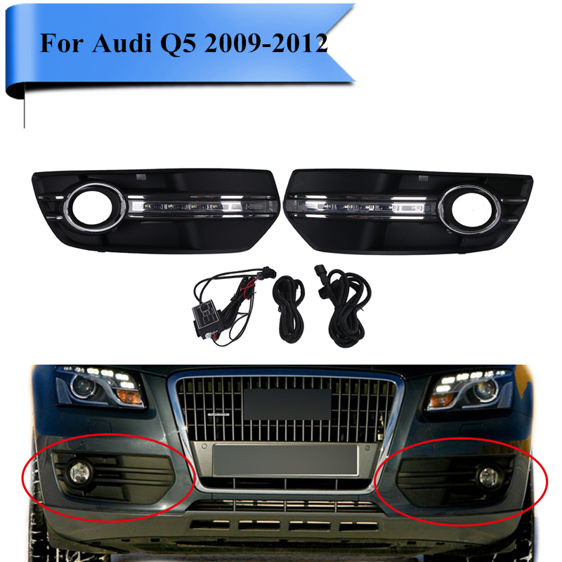 2X LED Daytime Running Light Standard Front Bumpe Fog Lamp Grille Cover with LED Strips For Audi Q5 2009 2010 2011 2012 #PDK579 set fog light lamp with bulbs front bumper fog light grille cover for volkswagen vw cc 2009 2012