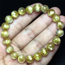9mm Natural Gold Rutilated Titanium Quartz Bracelet Woman Man Cat Eye Effect Crystal Round Beads Jewelry AAAAA Drop Shipping