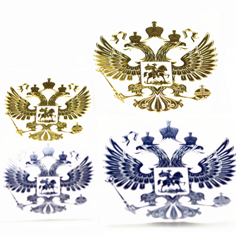 1Pcs Coat of Arms of Russia Nickel Metal Car Stickers Decals Russian Federation Eagle Emblem for Car Styling Laptop Sticker